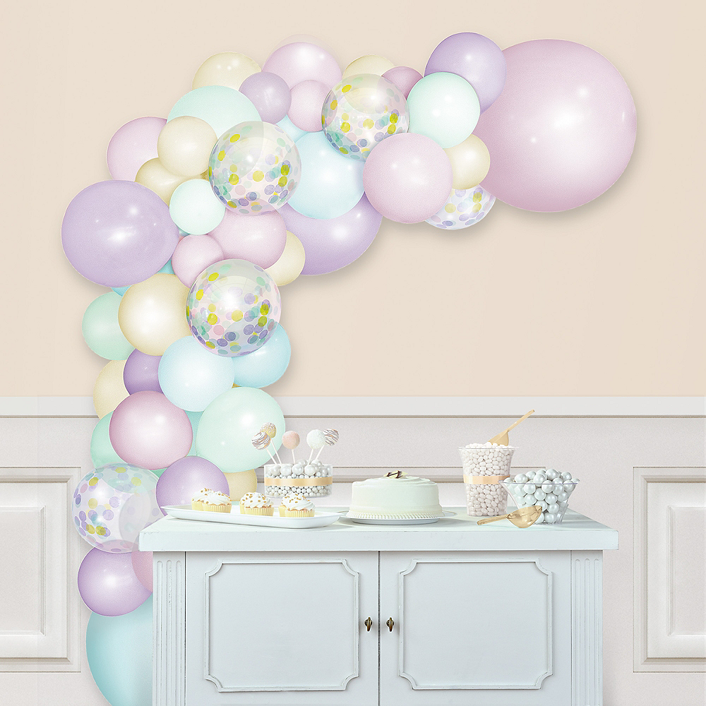 Air-Filled Macaroon Pastel Balloon Garland Kit Image #1