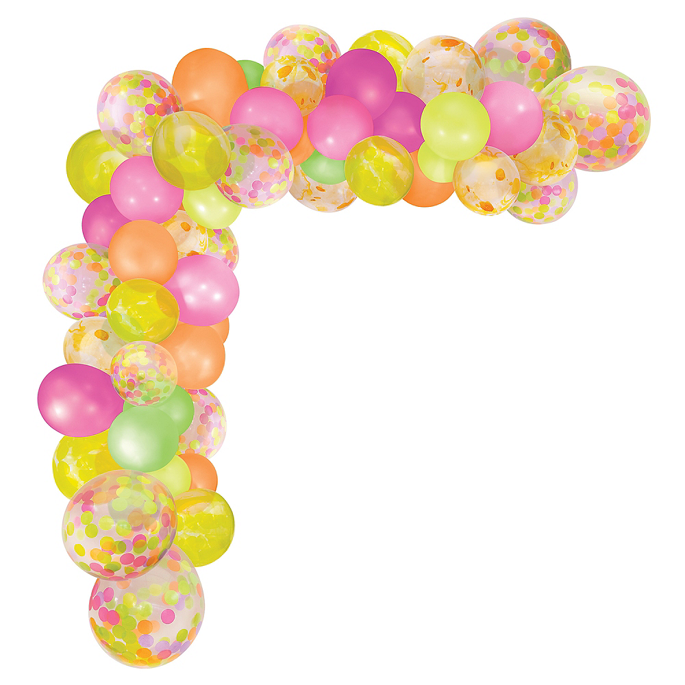Air-Filled Neon Multicolor Balloon Garland Kit Image #2