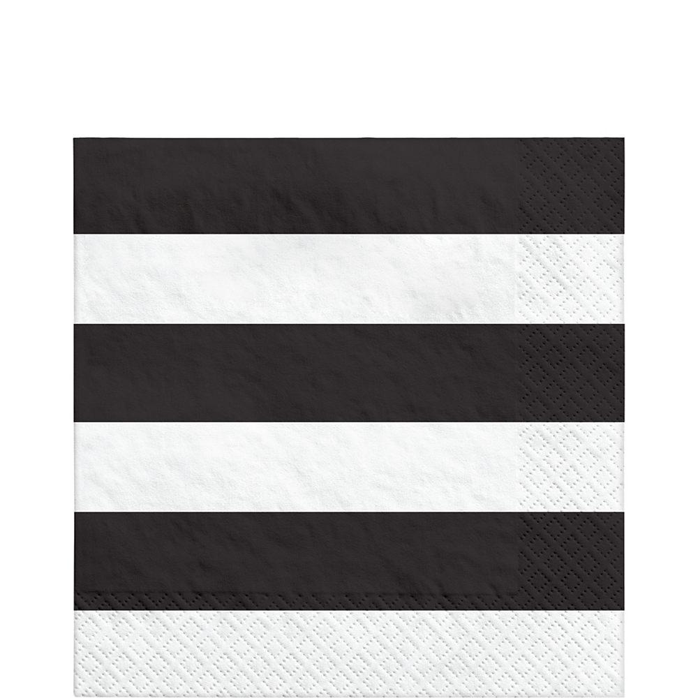Black Striped Lunch Napkins 16ct Image #1