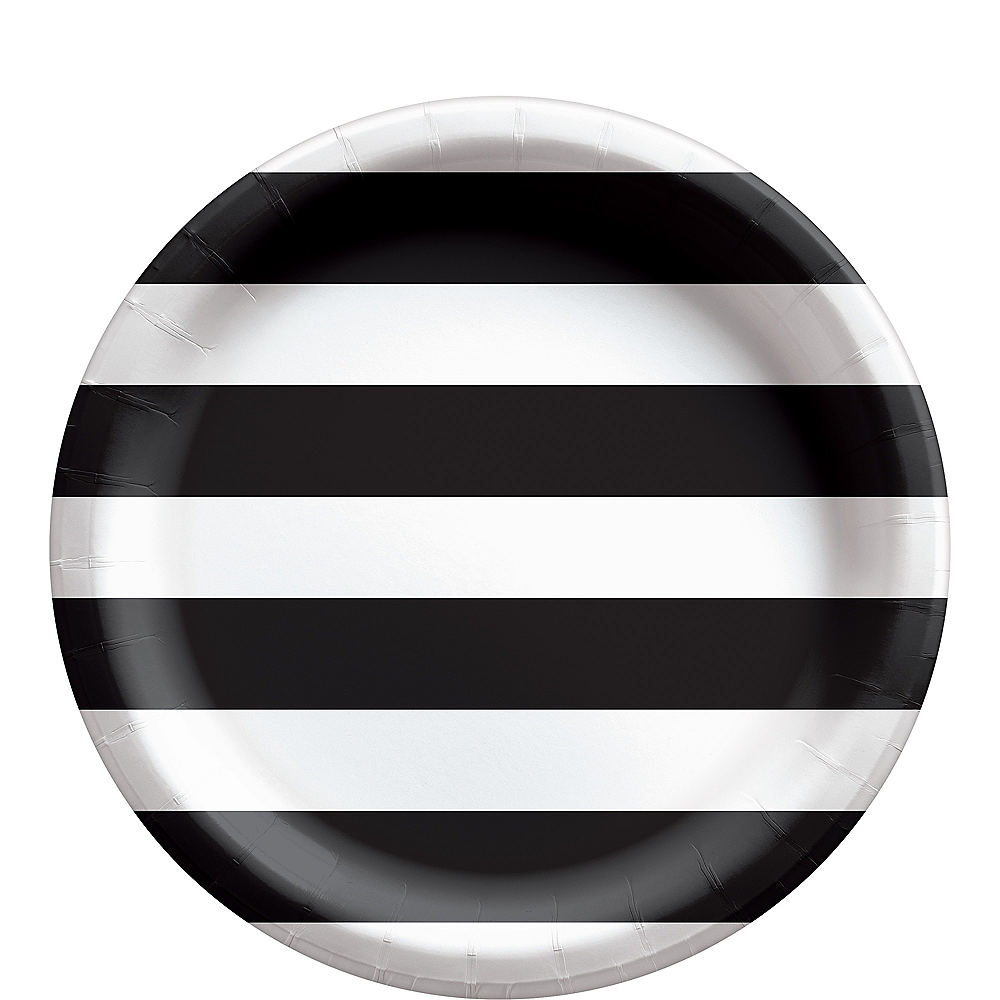 Black Striped Lunch Plates, 9in, 8ct Image #1