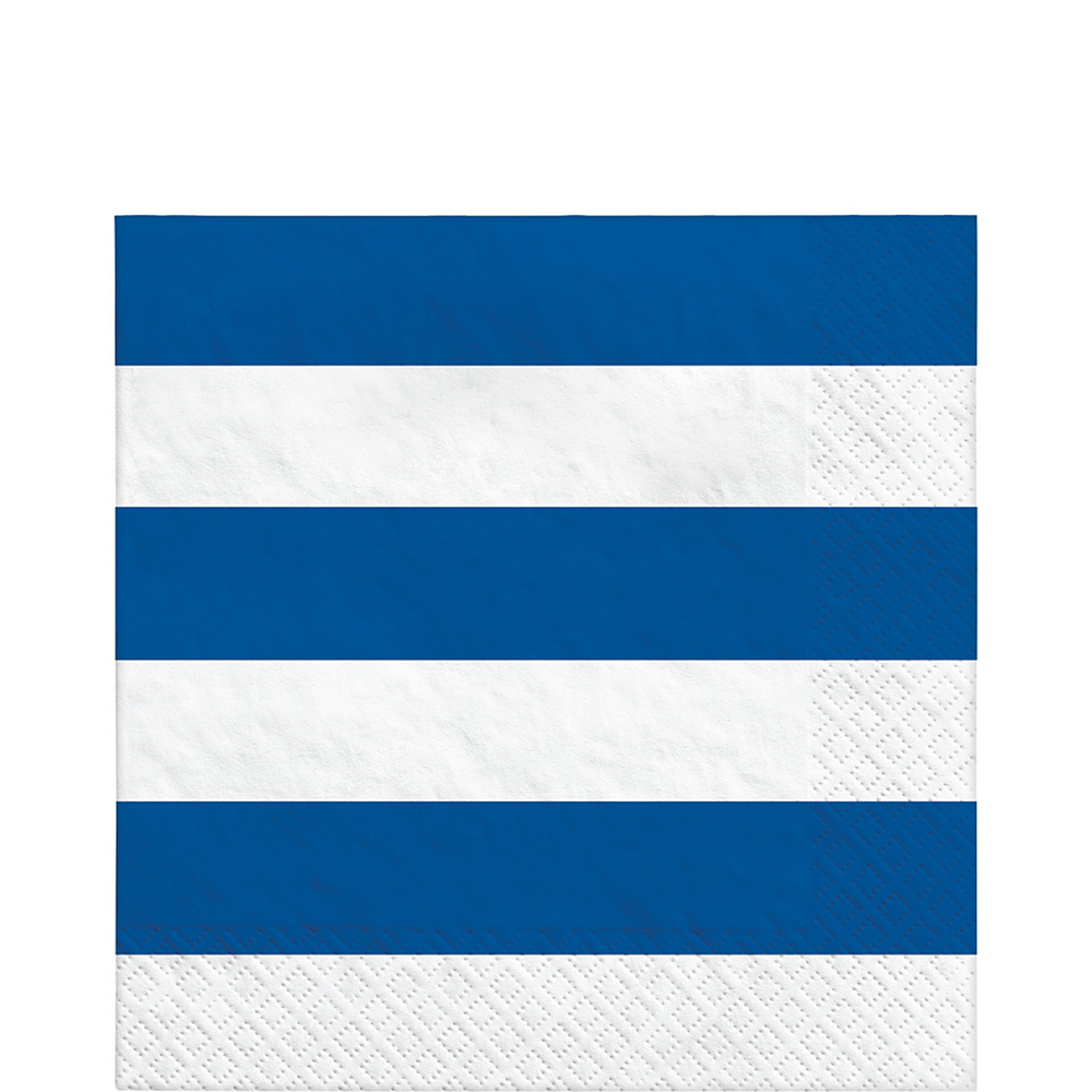Royal Blue Striped Lunch Napkins 16ct Image #1