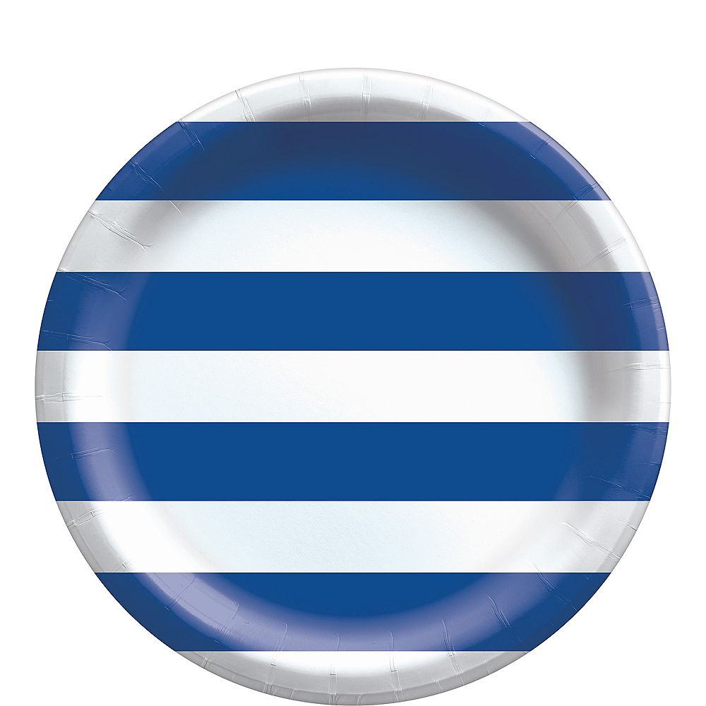 Royal Blue Striped Lunch Plates, 9in, 8ct Image #1