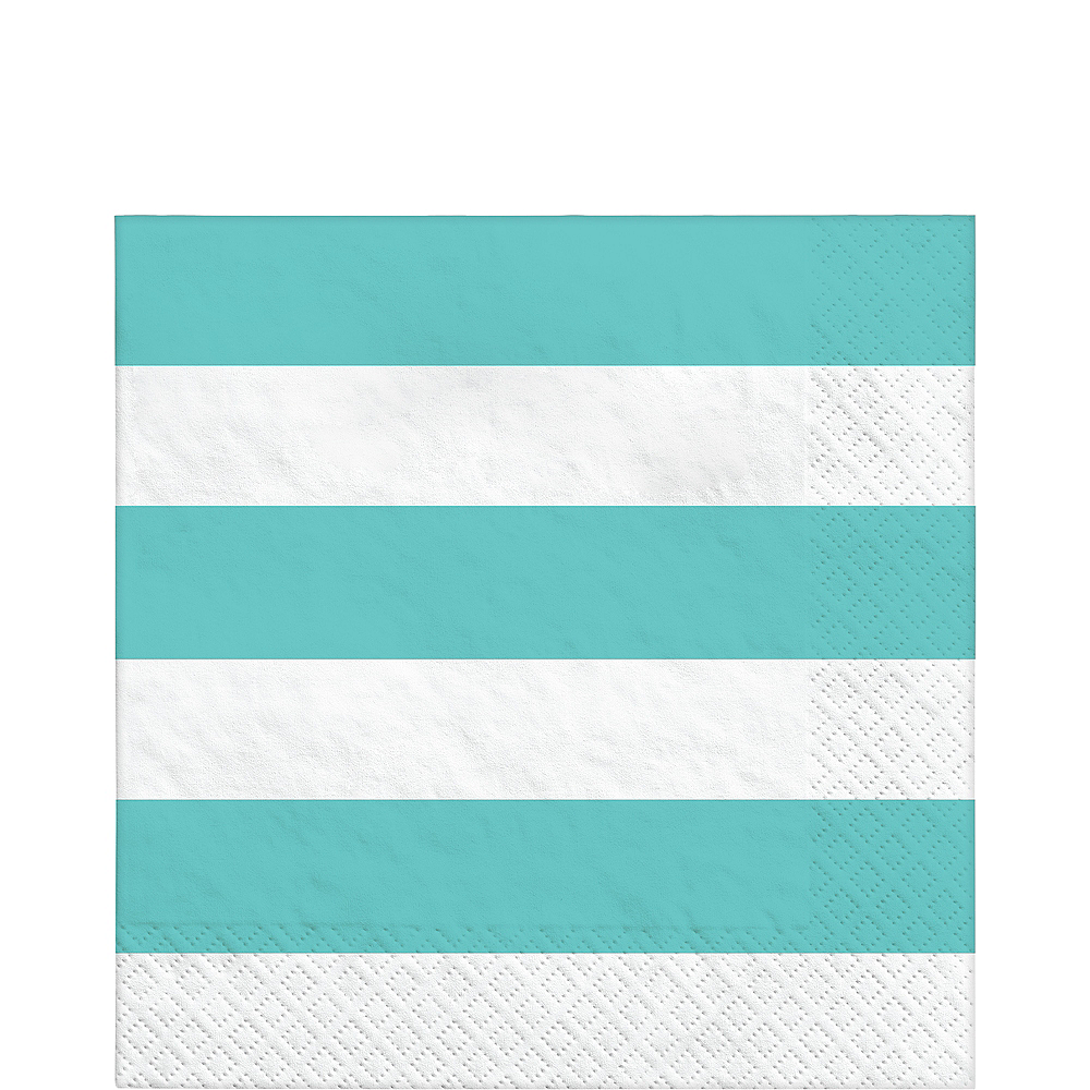 Robin's Egg Blue Striped Lunch Napkins 16ct Image #1