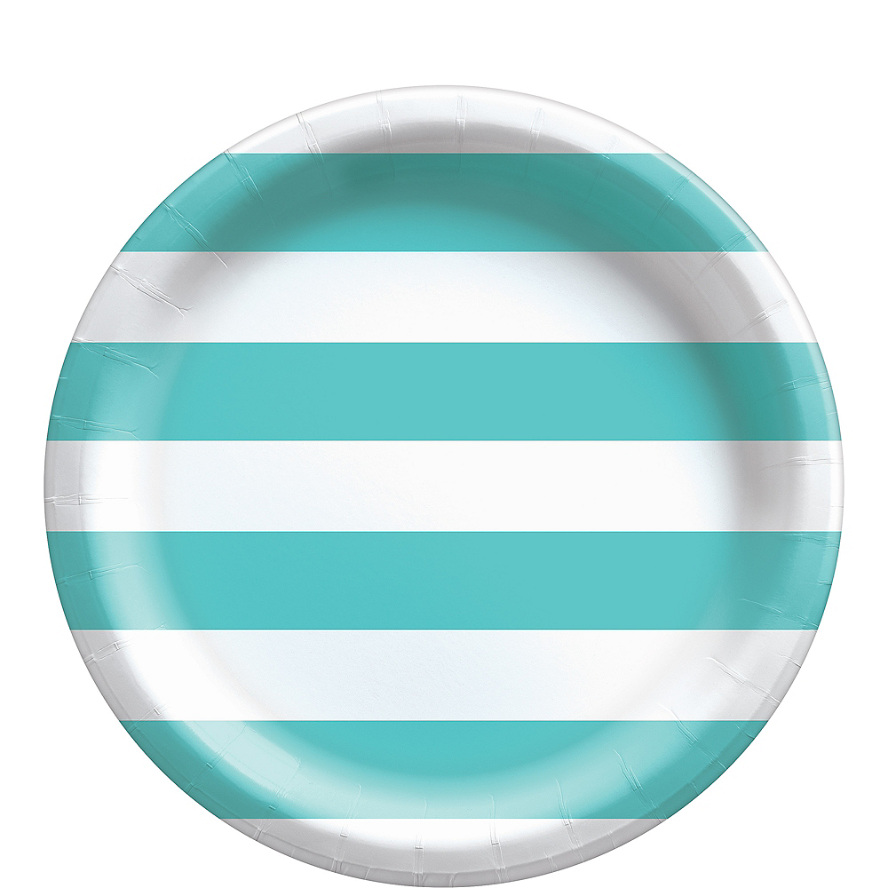 Robin's Egg Blue Striped Lunch Plates, 9in, 8ct Image #1