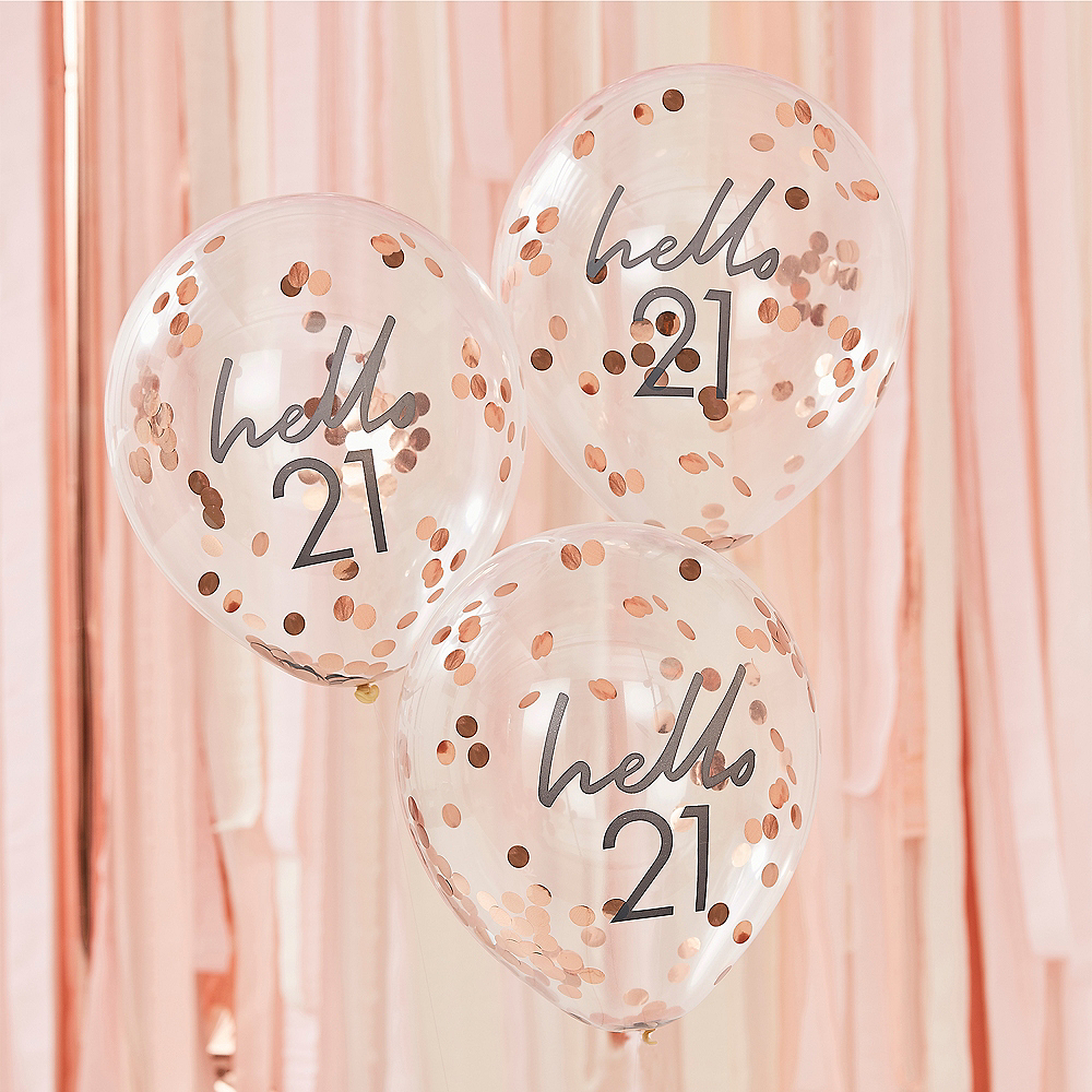 Ginger Ray Hello 21 Metallic Rose Gold Confetti Balloons, 12in, 5ct Image #1
