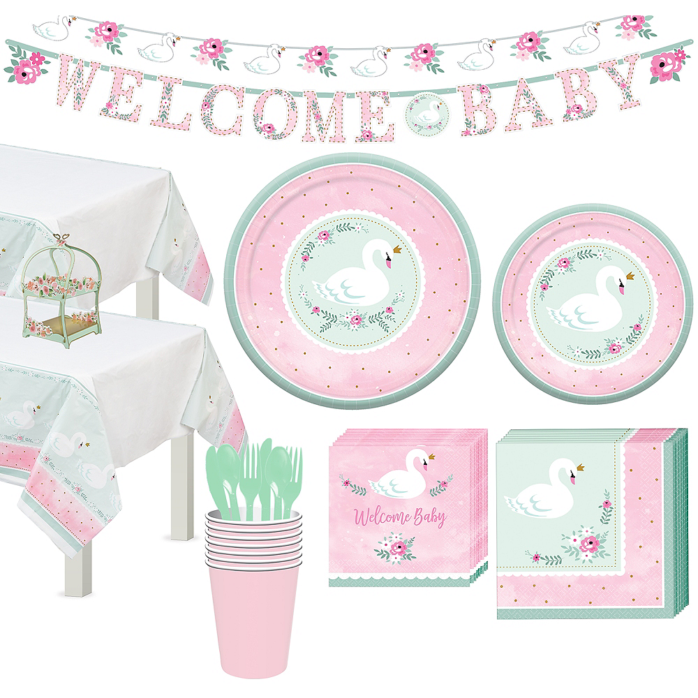Sweet Swan Party Tableware Kit for 16 Guests Image #1