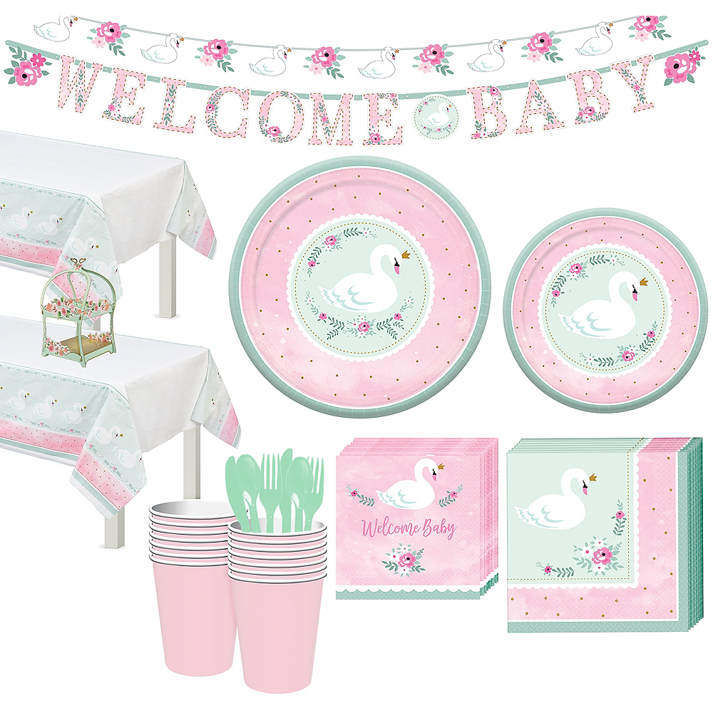 Sweet Swan Party Tableware Kit for 32 Guests Image #1