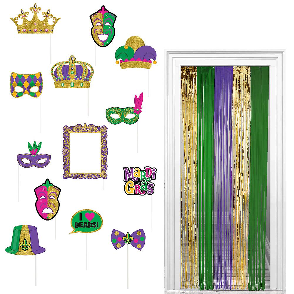 Mardi Gras Photo Booth Kit 15pc Image #1