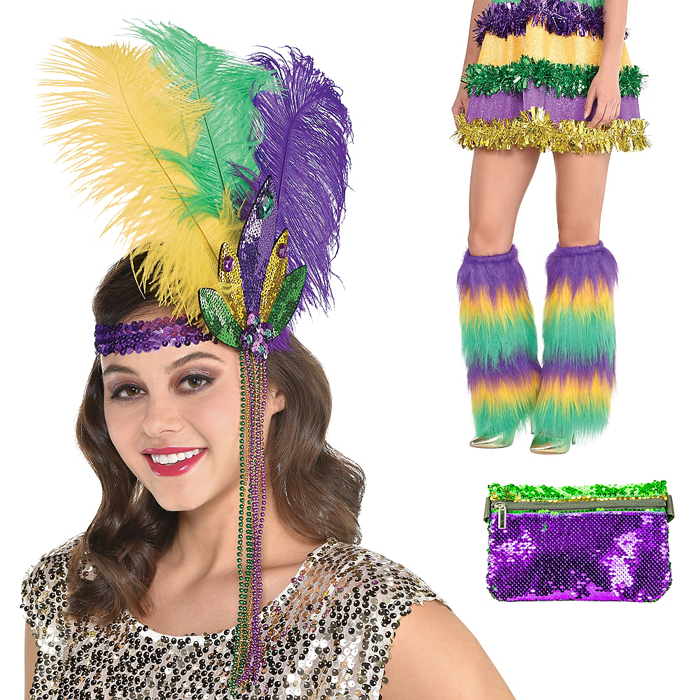 Adult Sequin & Fur Mardi Gras Outfit Kit 3pc Image #1