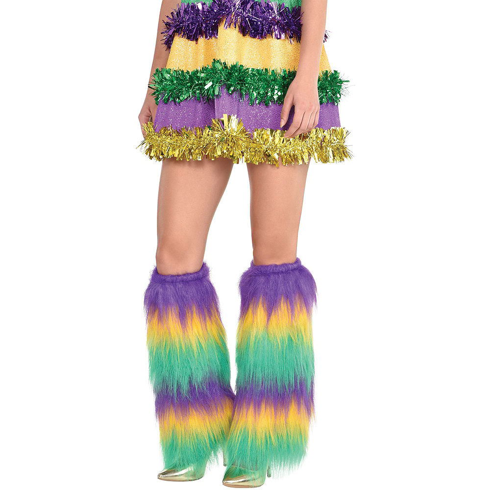 Adult Sequin & Fur Mardi Gras Outfit Kit 3pc Image #3