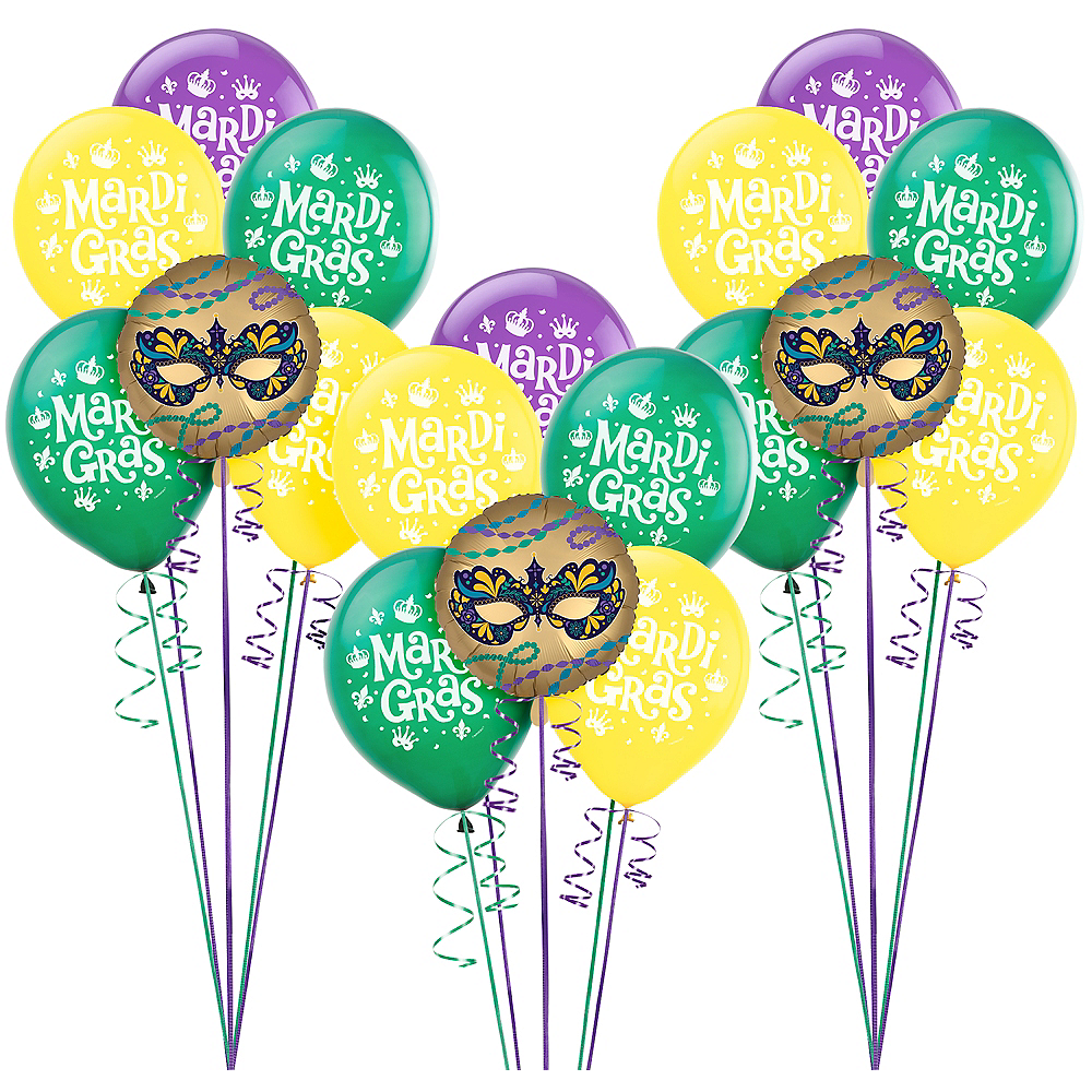 Mardi Gras Balloon Kit 18pc Image #1