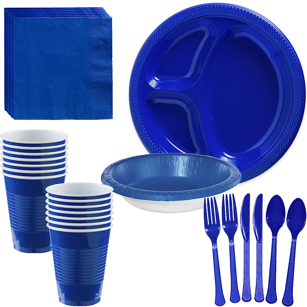 Royal Blue Plastic Tailgate Party Kit for 20 Guests Image #1