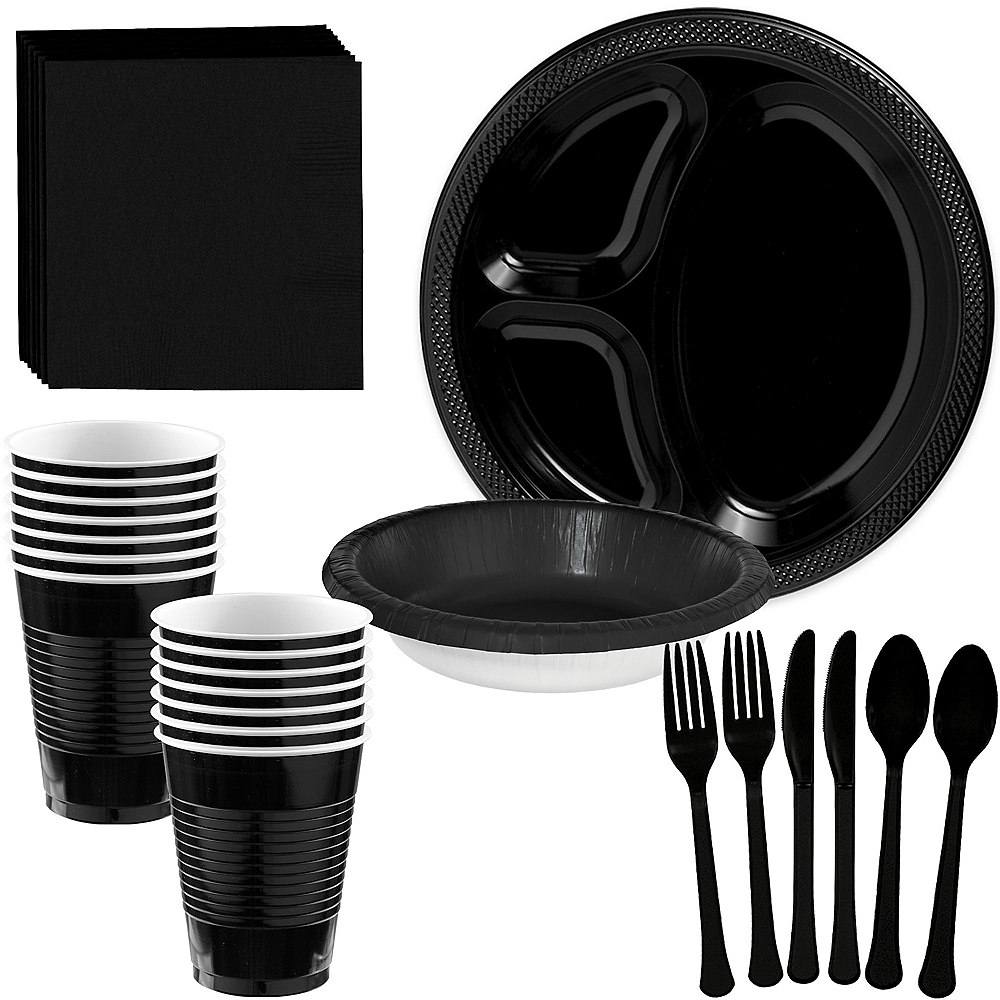 Black Plastic Tailgate Party Kit for 20 Guests Image #1