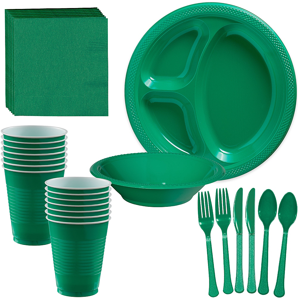 Festive Green Plastic Tailgate Party Kit for 20 Guests Image #1
