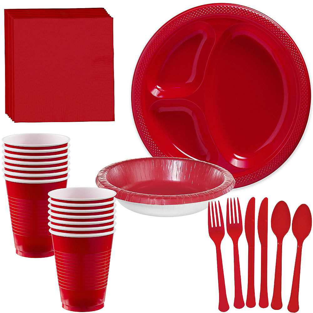 Red Plastic Tailgate Party Kit for 20 Guests Image #1