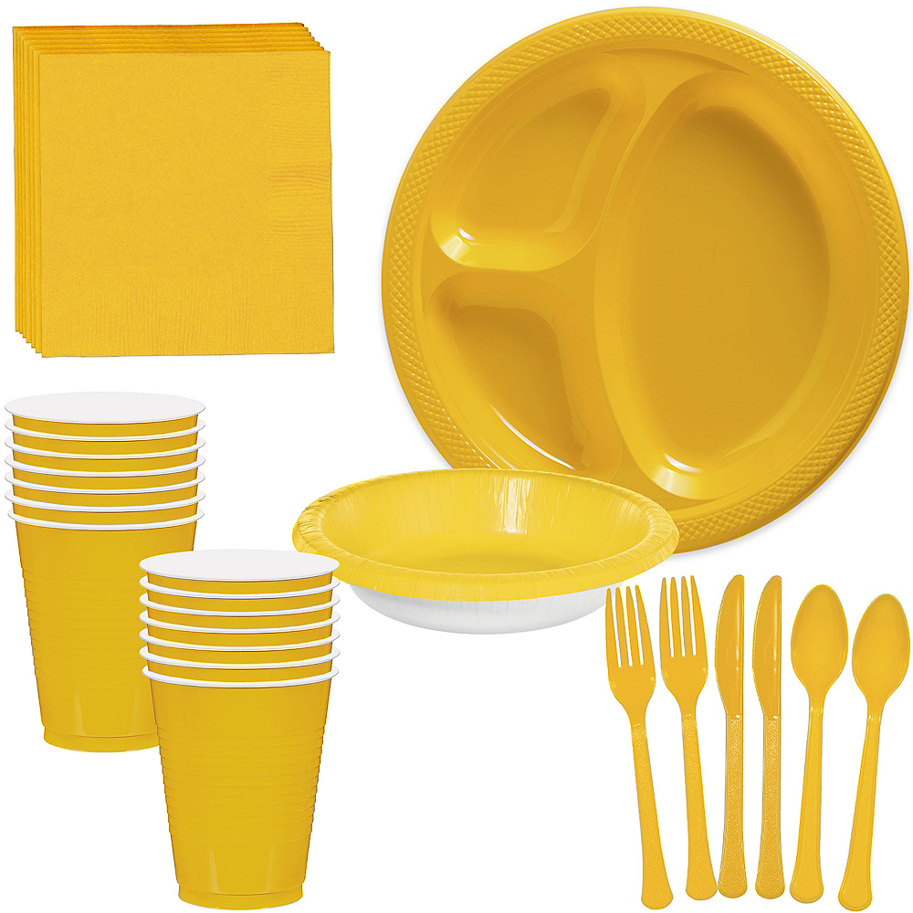 Yellow Plastic Tailgate Party Kit for 20 Guests Image #1