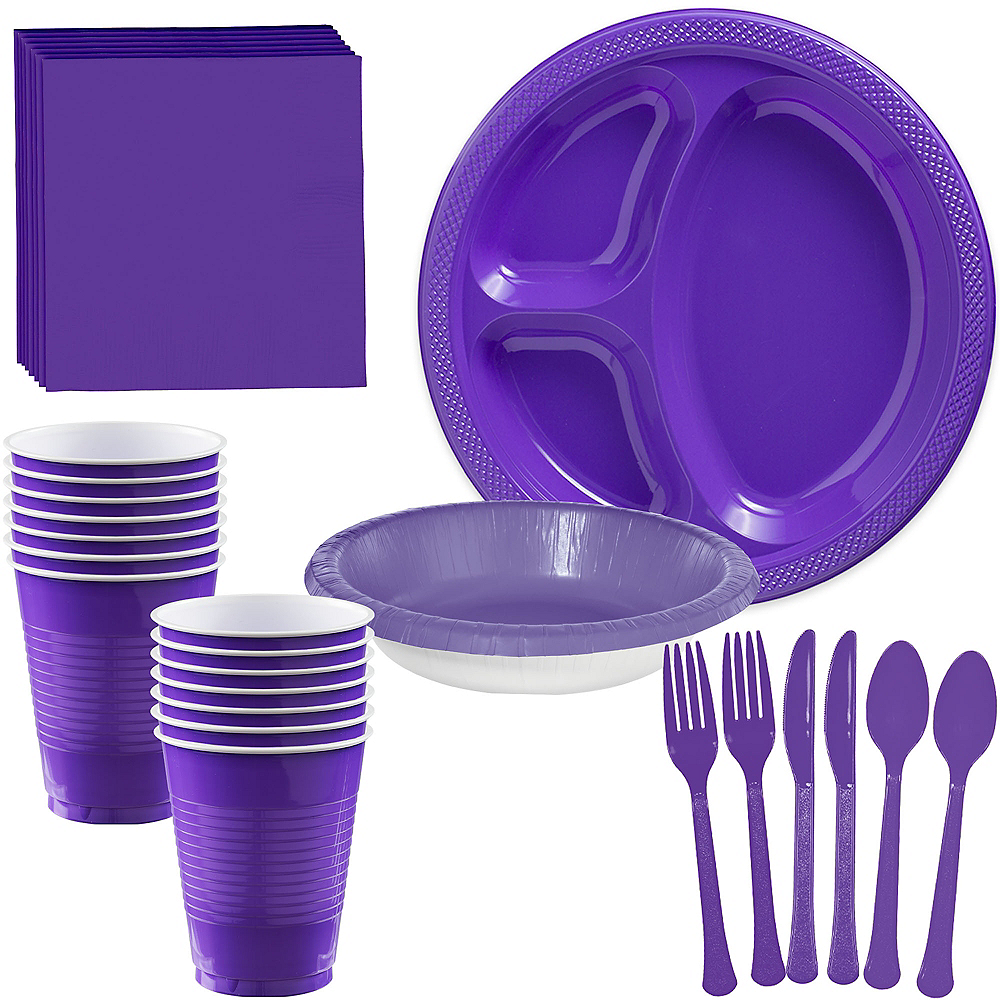Purple Plastic Tailgate Party Kit for 20 Guests Image #1