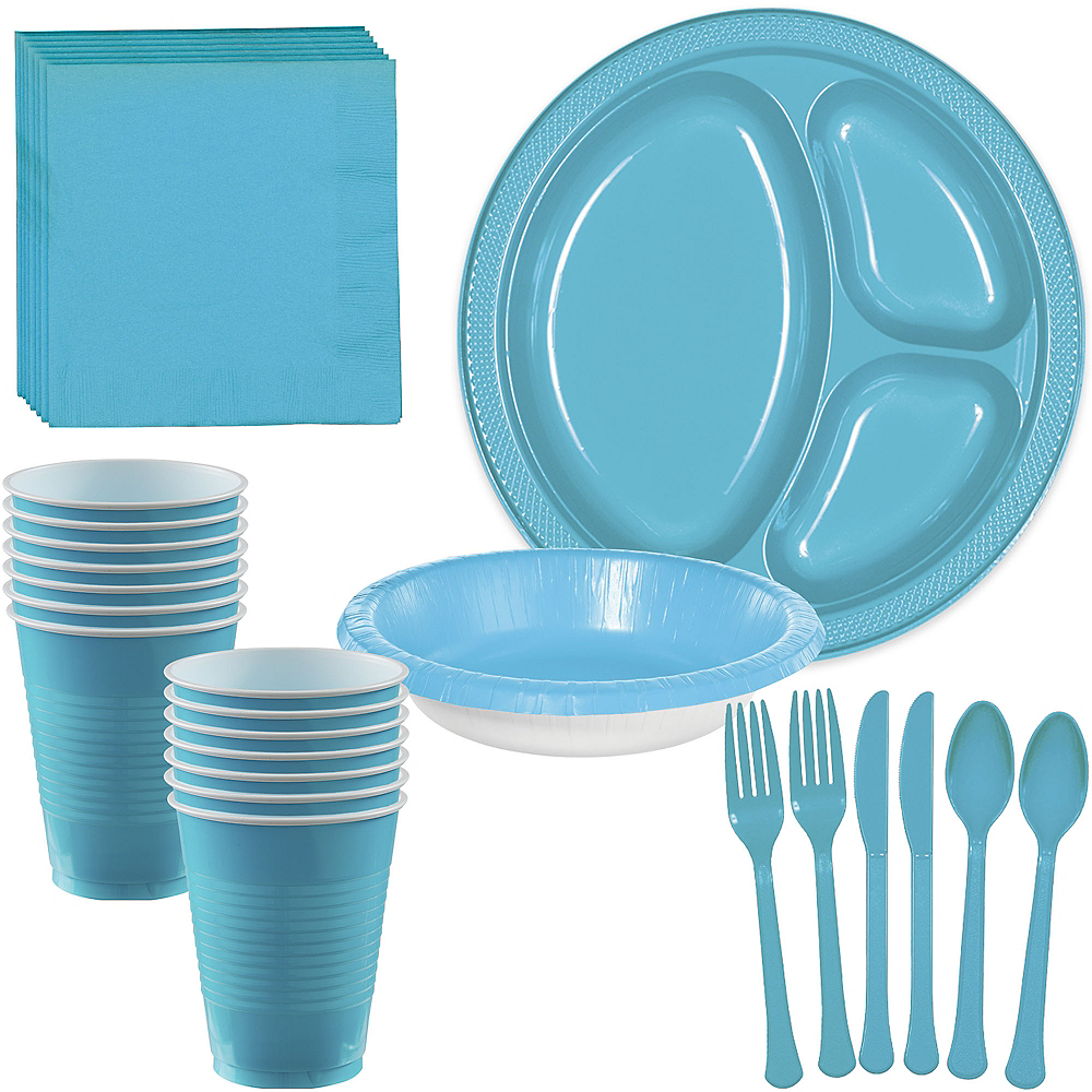Caribbean Blue Plastic Tailgate Party Kit for 20 Guests Image #1