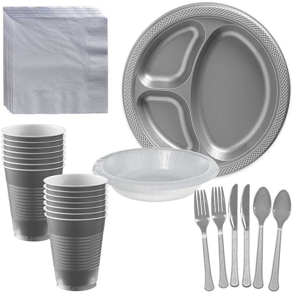 Silver Plastic Tailgate Party Kit for 20 Guests Image #1