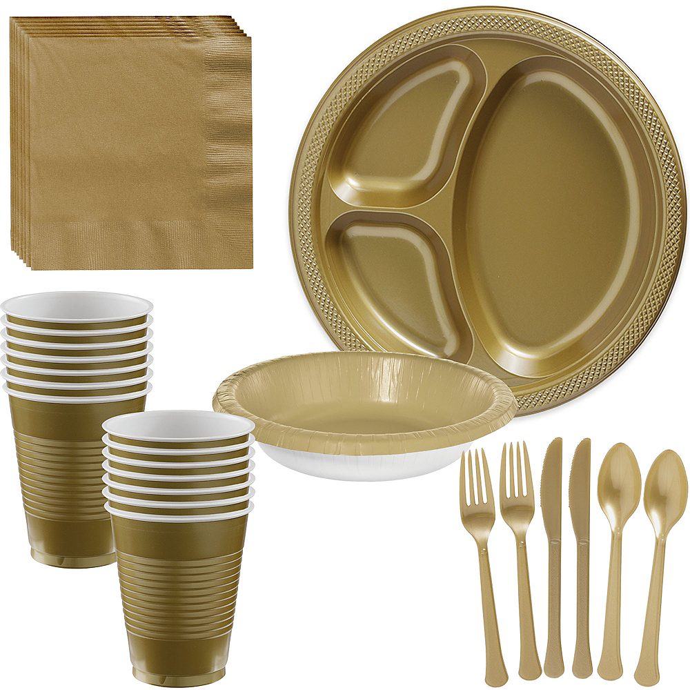 Gold Plastic Tailgate Party Kit for 20 Guests Image #1