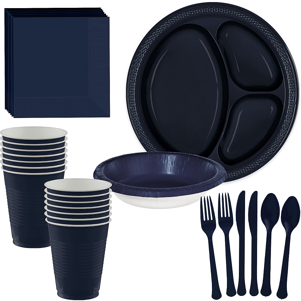 True Navy Plastic Tailgate Party Kit for 20 Guests Image #1