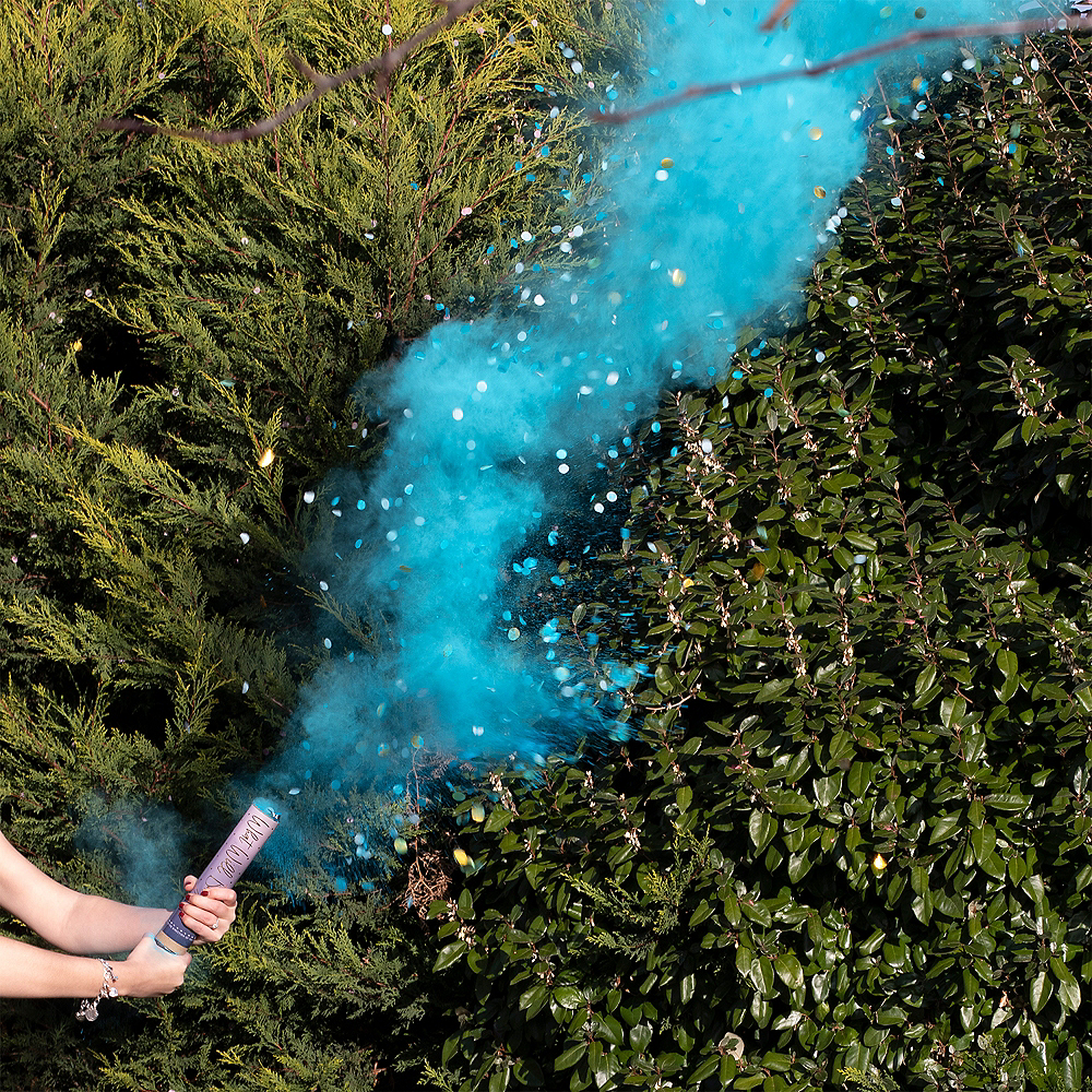 Ginger Ray Gender Reveal Blue Smoke & Confetti Cannon Image #1