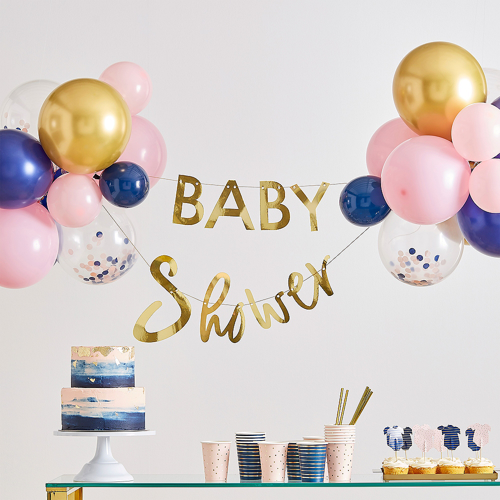 Ginger Ray Navy, Pink, & Metallic Gold Baby Shower Banner & Balloon Kit Image #1