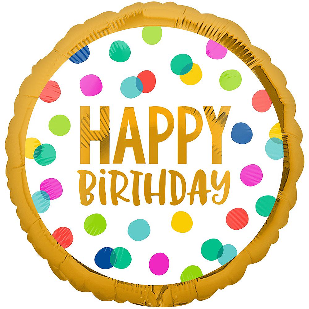Multicolor Happy Dots Birthday Balloon, 18in Image #1
