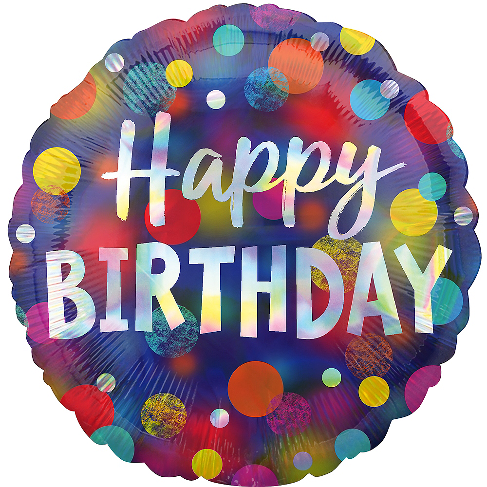 Iridescent Party Dotted Happy Birthday Balloon, 18in Image #1
