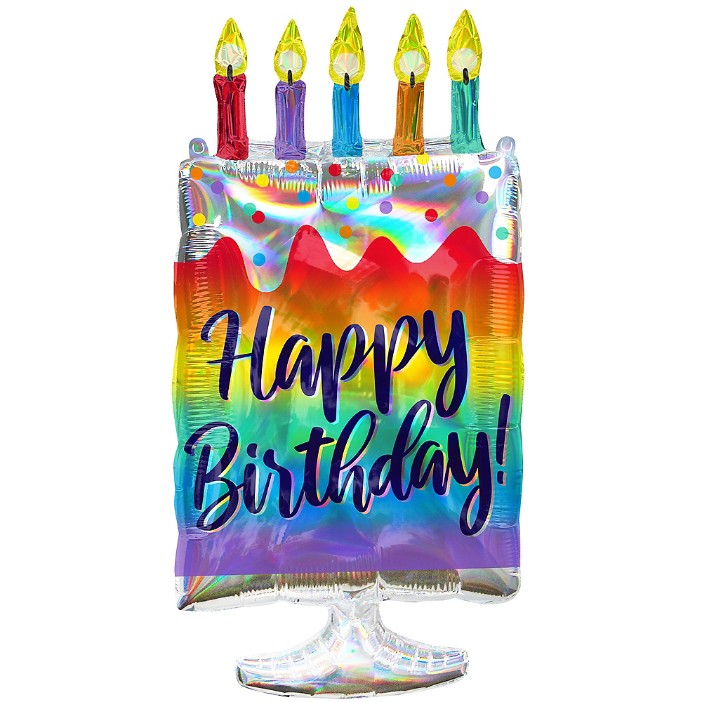 Miraculous Giant Iridescent Happy Birthday Cake Balloon 30In Party City Funny Birthday Cards Online Aeocydamsfinfo