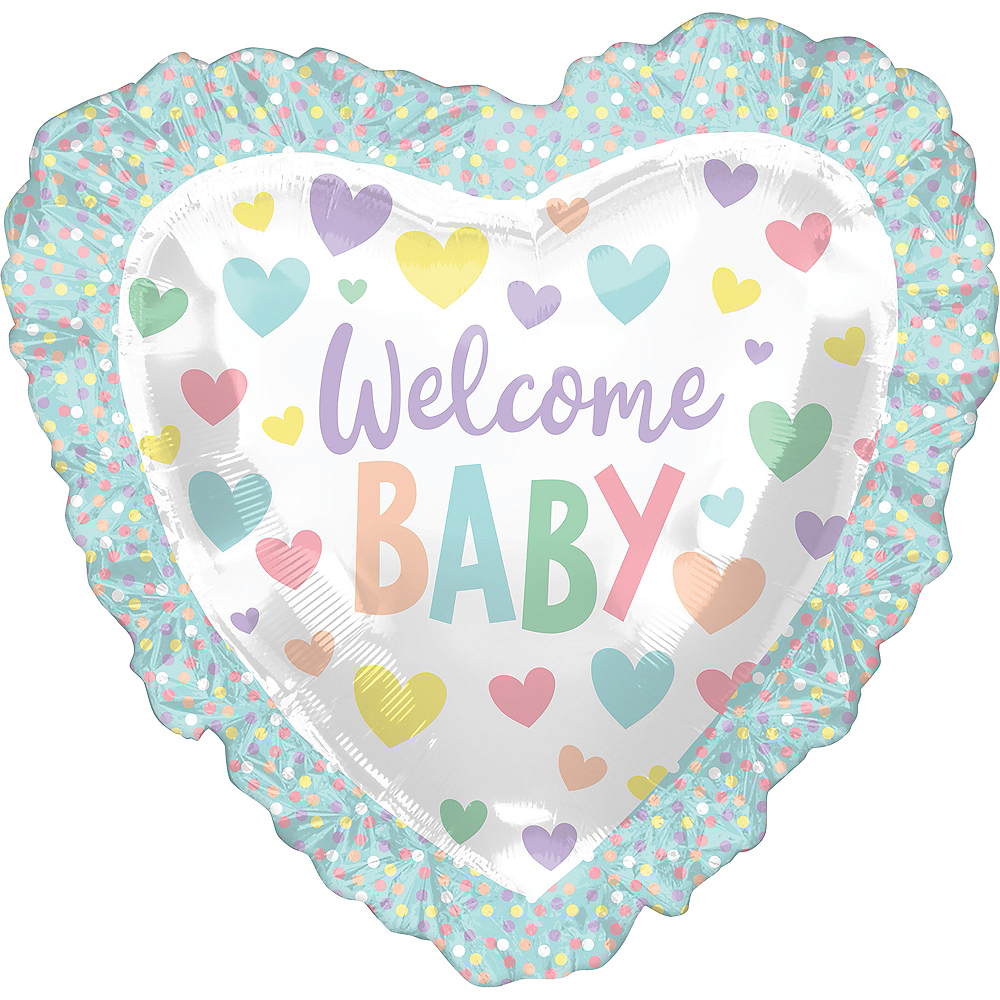 Giant Scalloped Edge Pastel Welcome Baby Heart Balloon, 28in Image #1