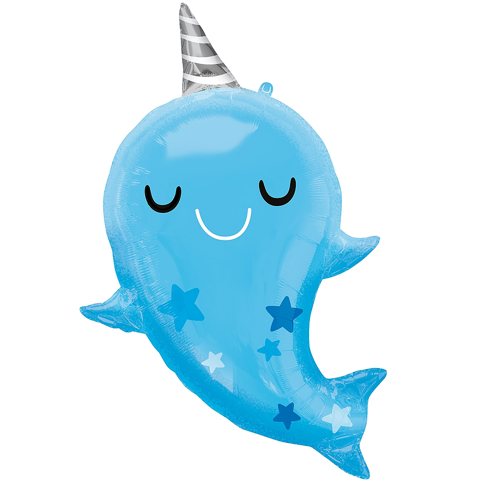 Giant Blue Baby Narwhal Balloon, 30in Image #1