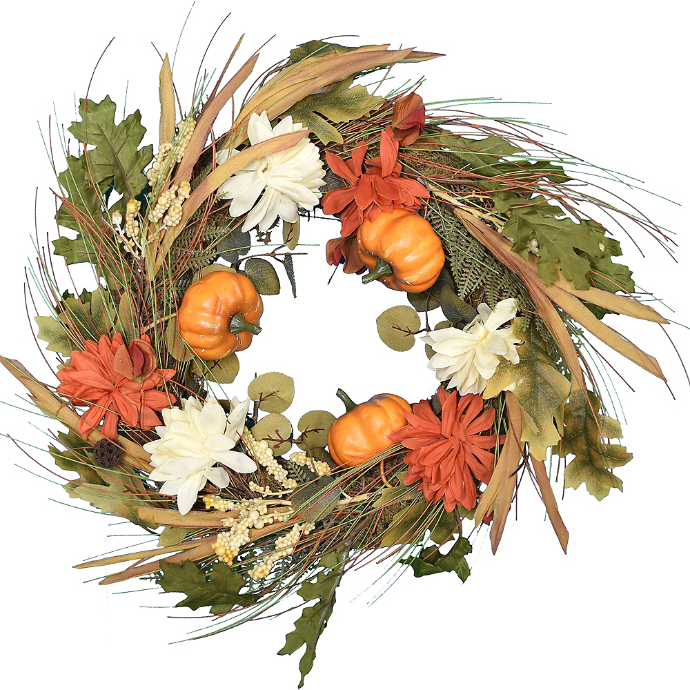 Fall Pumpkins & Flowers Wreath Image #1