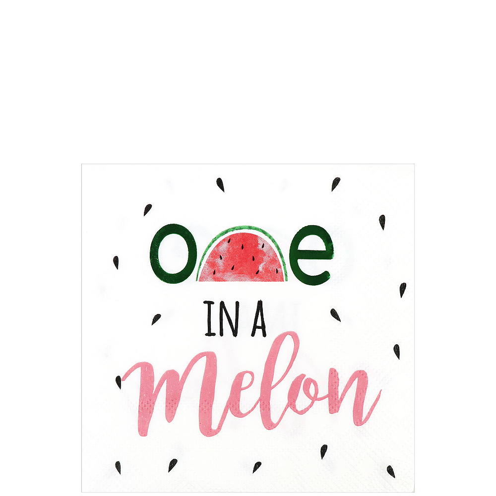 One in a Melon 1st Birthday Beverage Napkins, 5in, 16ct Image #1