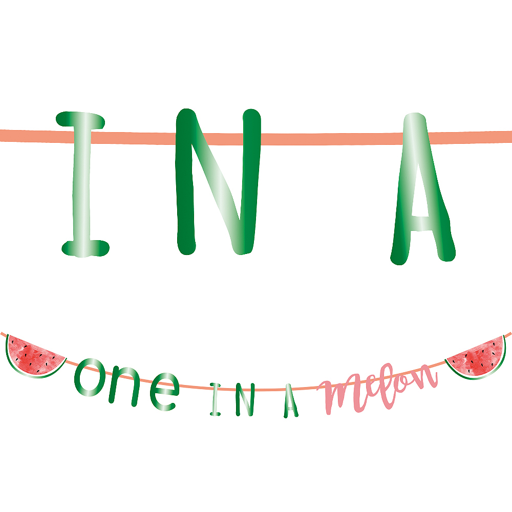 One in a Melon 1st Birthday Letter Banner, 10ft Image #1