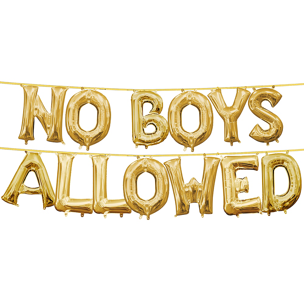 13in Air-Filled Gold No Boys Allowed Letter Balloon Kit Image #1