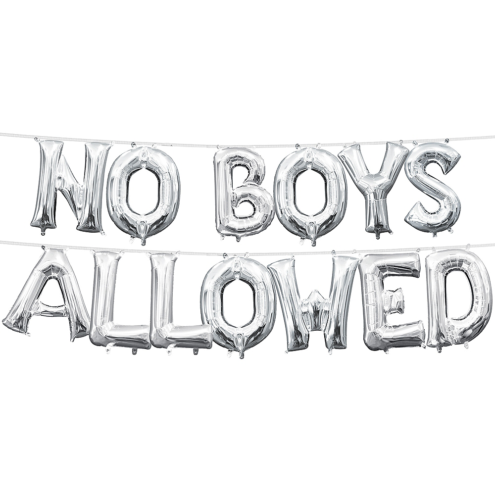 13in Air-Filled Silver No Boys Allowed Letter Balloon Kit Image #1
