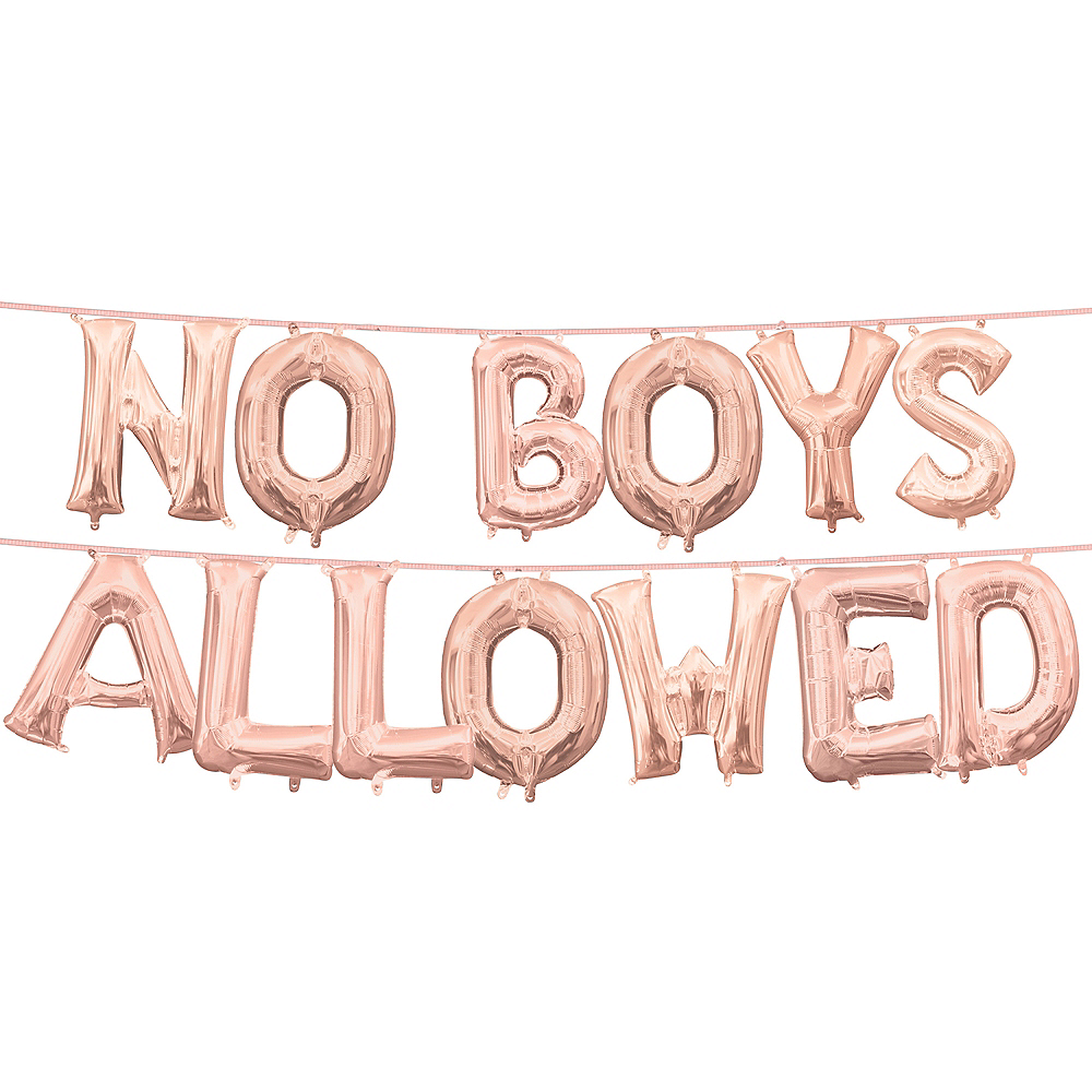 13in Air-Filled Rose Gold No Boys Allowed Letter Balloon Kit Image #1