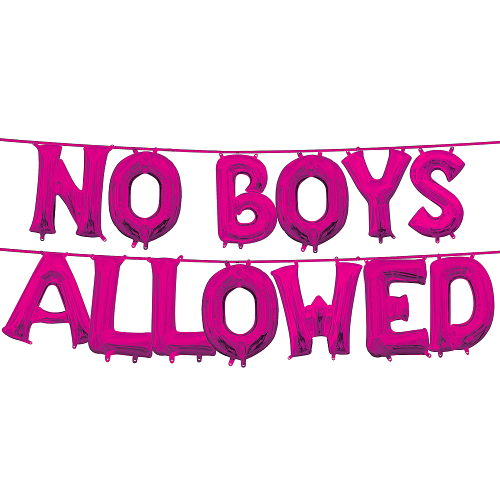 13in Air-Filled Bright Pink No Boys Allowed Letter Balloon Kit Image #1