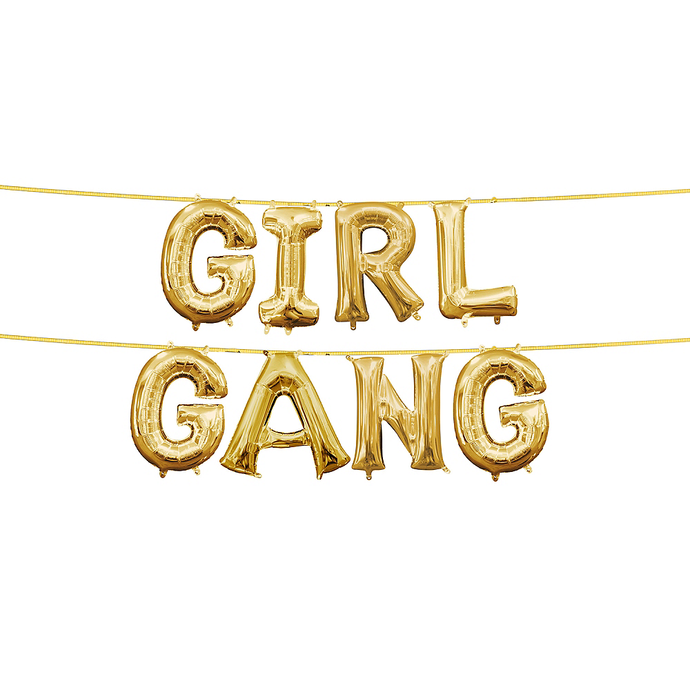 13in Air-Filled Gold Girl Gang Letter Balloon Kit Image #1