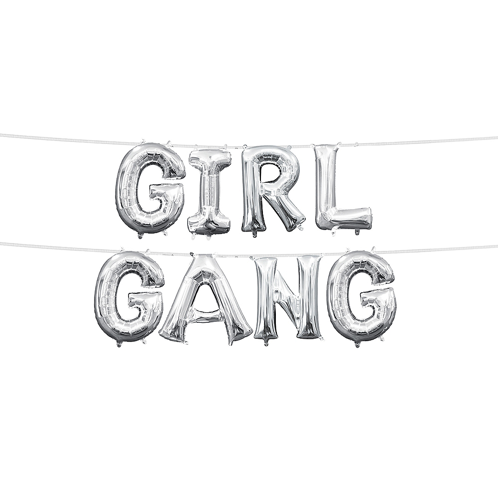 13in Air-Filled Silver Girl Gang Letter Balloon Kit Image #1