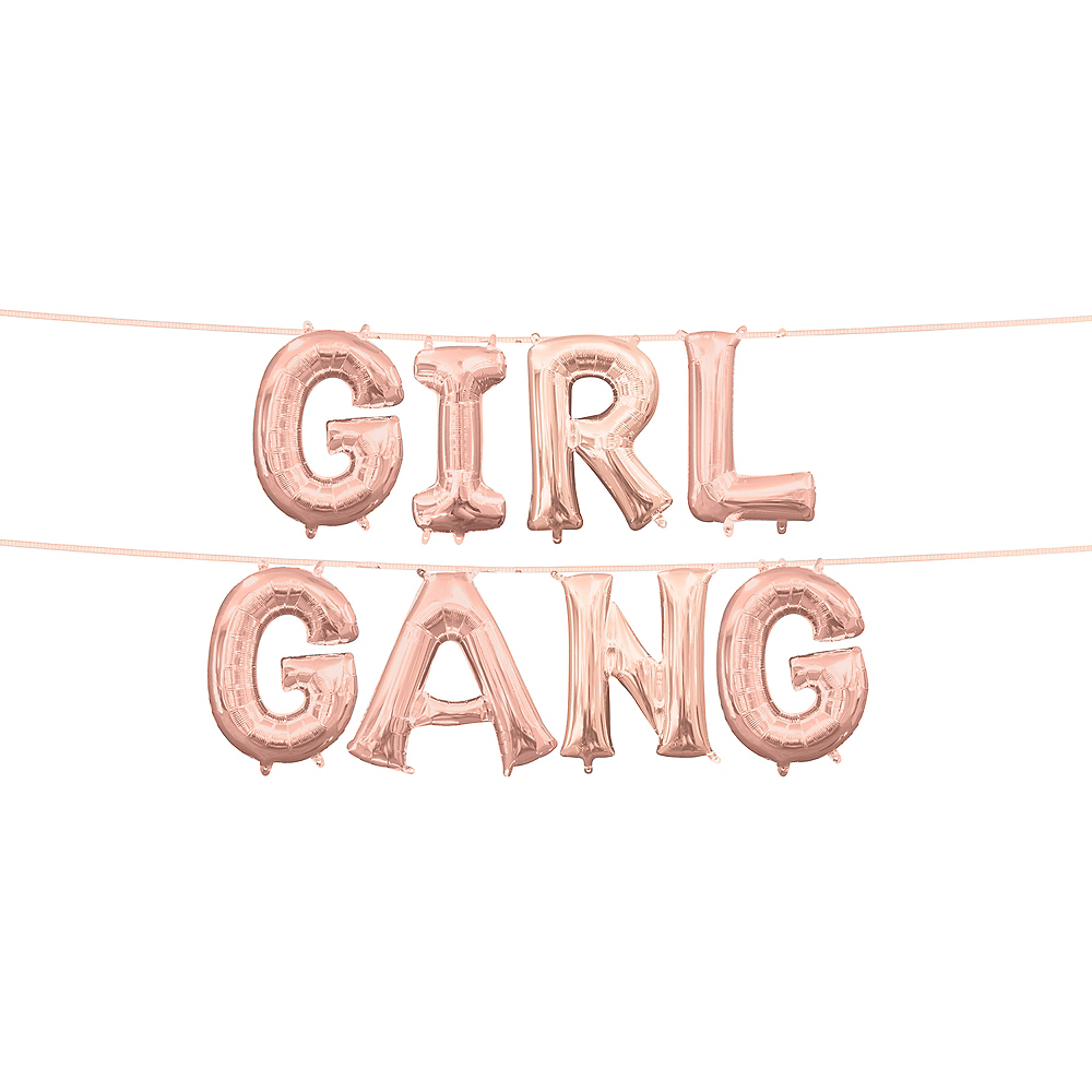 13in Air-Filled Rose Gold Girl Gang Letter Balloon Kit Image #1