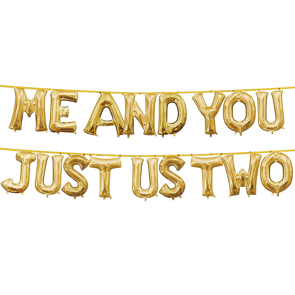 13in Air-Filled Gold Me and You Just Us Two Letter Balloon Kit Image #1