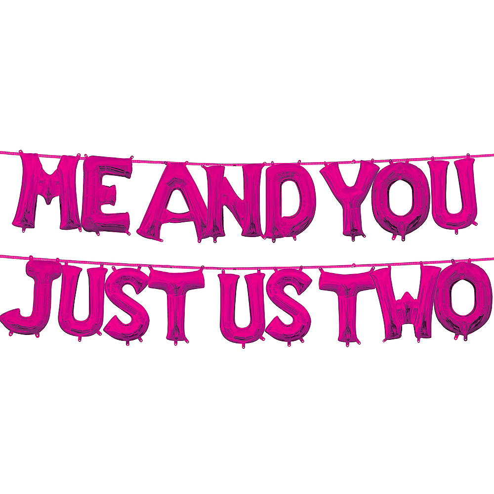 13in Air-Filled Bright Pink Me and You Just Us Two Letter Balloon Kit Image #1