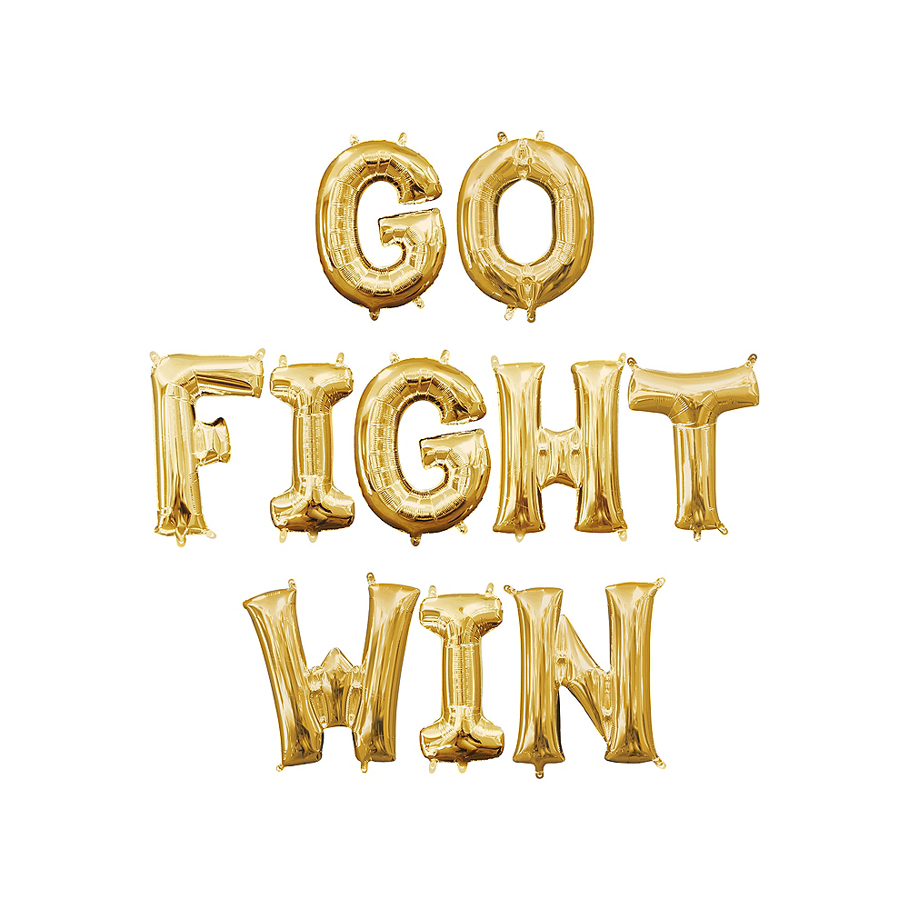 Air-Filled Gold Go Fight Win Balloon Kit Image #1