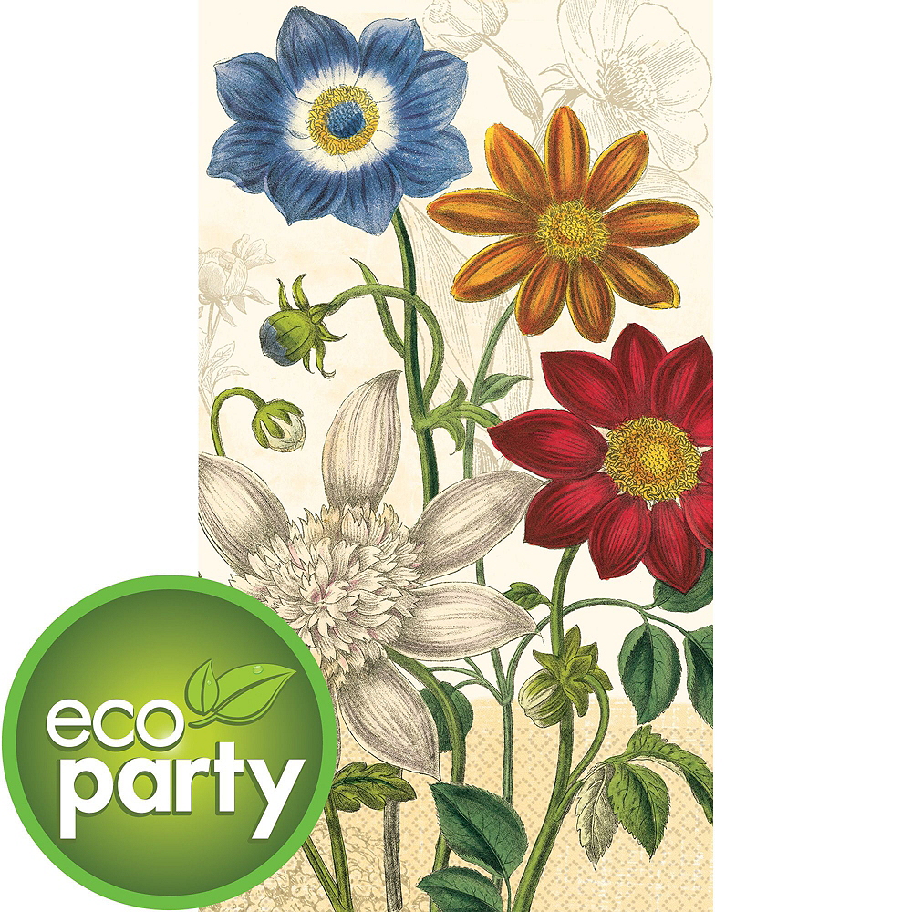 Eco-Friendly Vintage Garden Guest Towels 48ct with Caddy Image #2