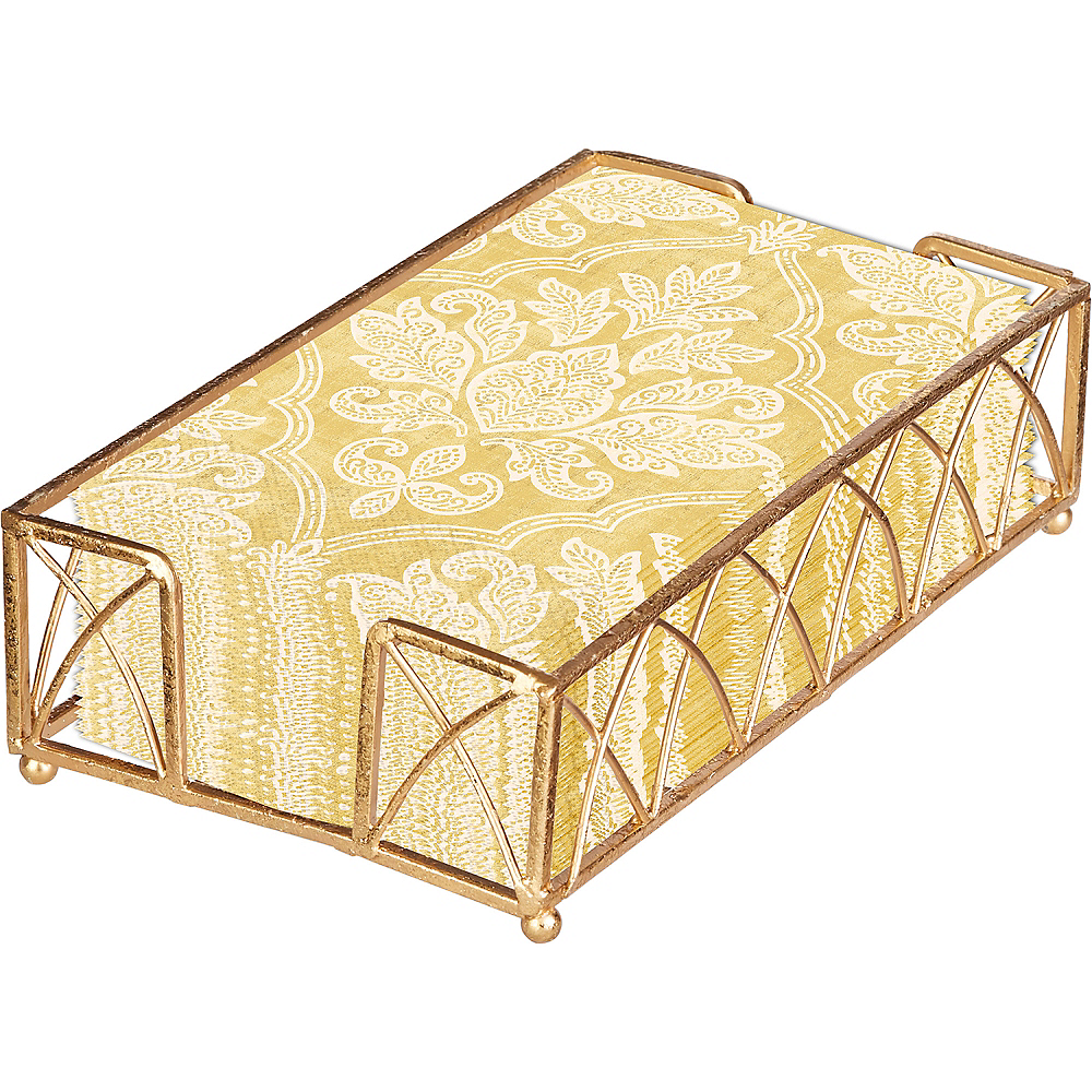 Gold Damask Guest Towels 48ct with Caddy Image #1