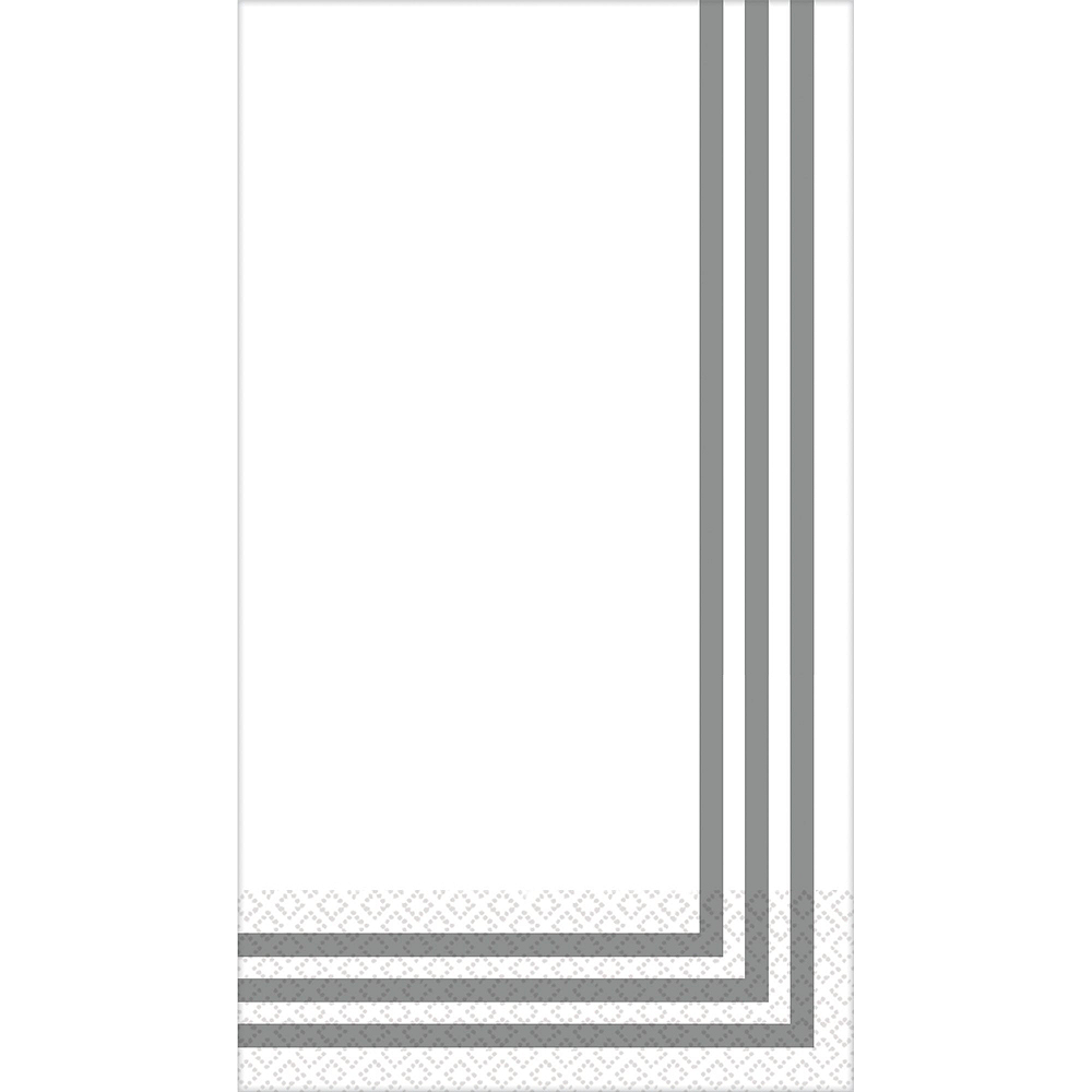 Silver Classic Stripe Premium Guest Towels 48ct with Caddy Image #2