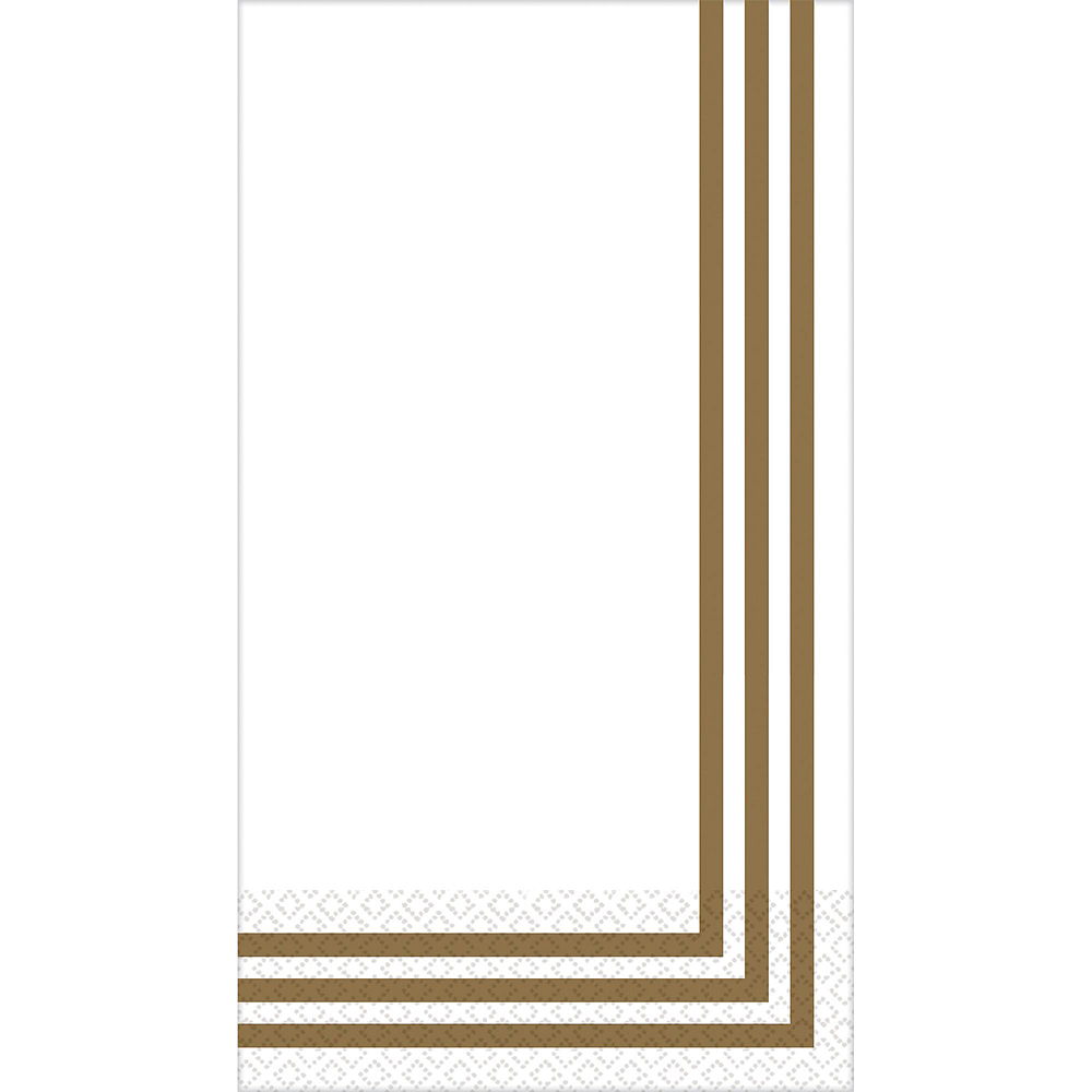 Gold Classic Stripe Premium Guest Towels 48ct with Caddy Image #2