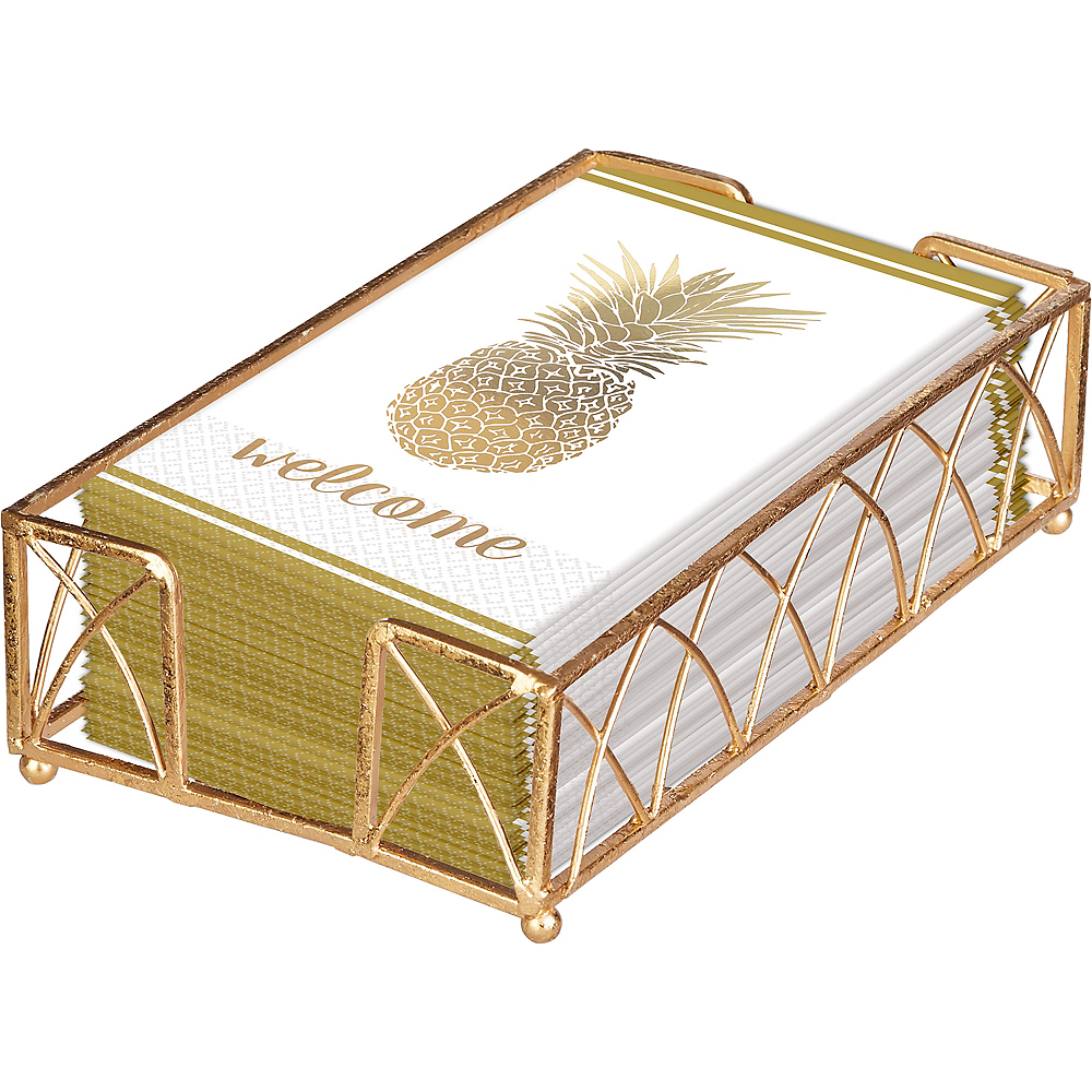 Gold Pineapple Premium Guest Towels 48ct with Caddy Image #1
